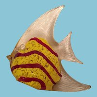 Circa 1960s Murano Art Glass Red and Yellow Fish Paper Weight