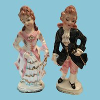 Rare Circa 1940s - 50s beautiful Large Hand-Painted Porcelain Victorian Colonial Couple