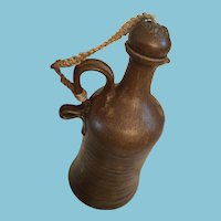 Artist-made Brown Pottery Decanter and Stopper