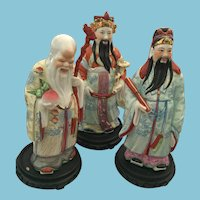 Set of Three Chinese Hand Painted  Porcelain Statues with Wooden Bases