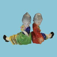 circa 1950s - 60s Pair of Porcelain Young Lady and Gentleman Bookends