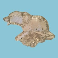 Circa 1980s Grizzly Bear Chasing a Salmon Clear Glass Sculpture