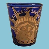 'Statue of Liberty New York' Cobalt Blue and Gilt Jigger