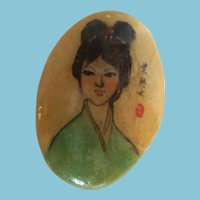Signed Hand-painted Oriental Lady on a Polished Oval Stone