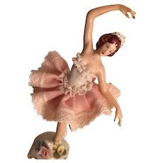 Pirouetting Porcelain Ballerina Figurine Marked with a Crown and N over Dresden