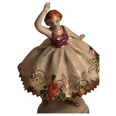 Porcelain Ballerina in an Eggshell-Thin Gold Embossed Skirt - Red Tag Sale Item