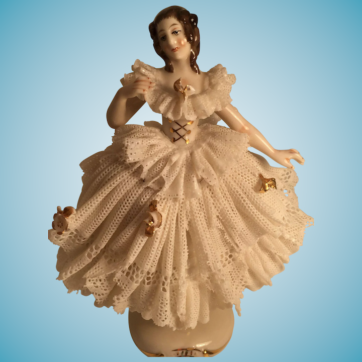 German Porcelain Lady with a Long Lace Ballerina Dress