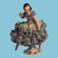 Porcelain Ballerina Marked A Germany 0/855 in a Lovely Lace Gown