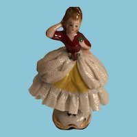 Vintage Porcelain Lady with a Lace Gown Likely from Japan