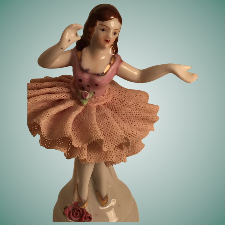 Perfect Porcelain Ballerina with Lace TuTu Marked 'Made in Japan'
