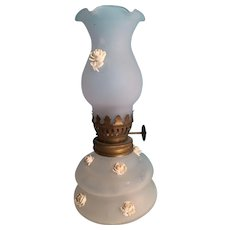 "6"" Miniature Opaque White Glass 'Angel Oil Lamp'"