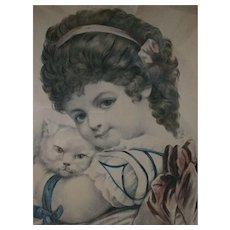 1877 'My Dear Little Pet' Currier and Ives Hand Tinted Lithograph