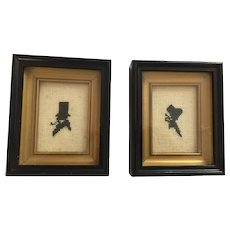 Pair of Framed 'Cross-Stitch' Silouette Embroideries