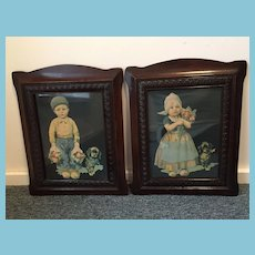 Pair of Early Dutch Children Prints in Beautiful Carved Frames