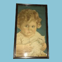 1920s- 30s Litho Print of a Child Holding a Lamb