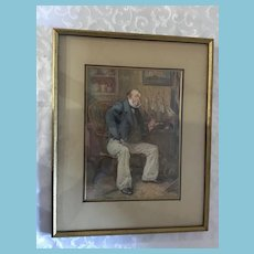 1912 Framed Numbered Print 'Captain Cuttle' by British artist Frank Reynolds