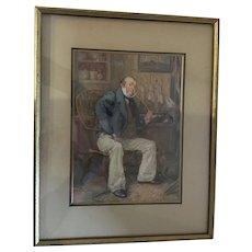 1912 Framed Numbered Print 'Captain Cuttle' by British artist Frank Reynolds
