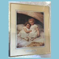 'Beneath an Angels Wing' Framed Print of Two Wide-eyed Children