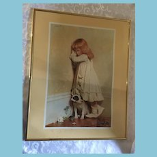 Framed Print of an 1893 Romantic British Painting of a Contrite Child