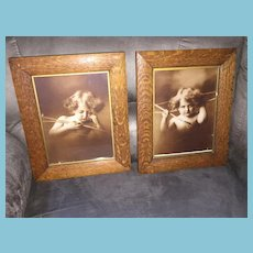 """Delightful Pair of Matching Sepia Colored Prints """"Cupid Awake"""" and """"Cupid Asleep"""""""