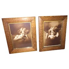 "Delightful Pair of Matching Sepia Colored Prints ""Cupid Awake"" and ""Cupid Asleep"""