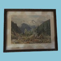Early Canadian Print 'A Prospector's Camp' by Lucius R. O'Brien