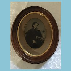Late 1800s Climo's American Gallery Chromotype 'Lady' Photo in Frame