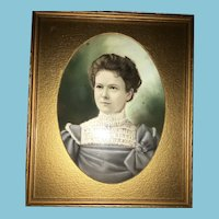 Late 1800s Framed Pastel Portrait of a Young Lady