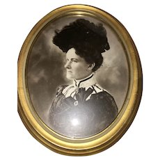 Gilt-Framed Oval Print of Charcoal Suffragette Portrait