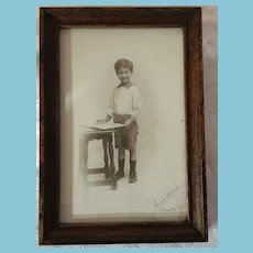 1910s-20s Signed Ideal Studio Photo of a Boy and a Book