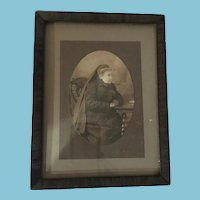 Victorian Period Photo of Elderly Lady in Widow's Weeds