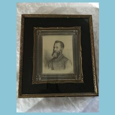 Framed Charcoal Print Portrait of Edwardian Period Gentleman