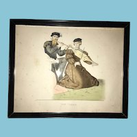 Early Fashion Musical Colored Print Entitled XVI E SIECLE 101.