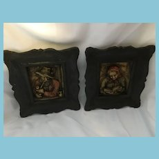 Framed Wax Pair of Italian Lady Reading and Pipe-Smoking Gentleman