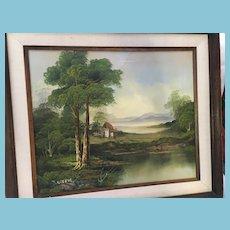 Framed Signed Pastoral Oil Painting Evoking the British Landscape School