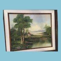 Framed Signed Pastoral Oil Painting Evoking the British Landscape School