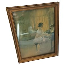 1920s-30s Framed Colored Print of a Lady Playing the Piano