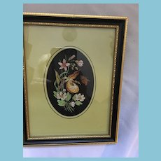 1960s Cashs Gold Crest Lady Slipper Framed Woven Silk Picture