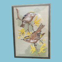 1960s Silk Bird Woven Picture by Cashs of Coventry