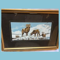 1960s Cashs Gold Crest Mountain Goats Woven Silk Picture