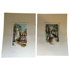 Circa 1970s Pair of Unframed Watercolor Paintings by G de Guise