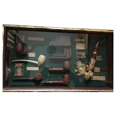 Circa 1960s Smokers' Shadow Box Collection of Pipes