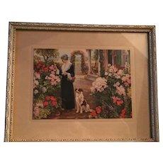 Lovely Old Framed Print Titled 'Mother's Garden'