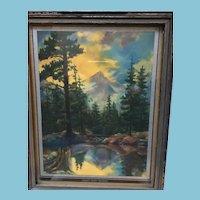 Circa 1940s Sunsets Magic Shadows Framed Forest Print
