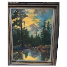 Circa 1940s Sunsets Magic Shadows Framed Forest Print
