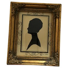 1960 Gilt Framed and Signed Black Ink Silhouette of a Woman