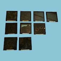Set of Nine Victorian 'Story of Ester' Gevaert Diapositive Lantern Plates