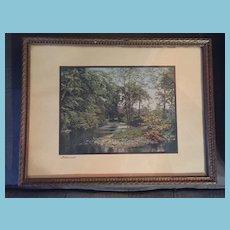 Lovely Old Framed Print Titled 'Watersmeet'