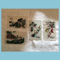 Four Hand-Painted Victorian Glass Lantern Plates