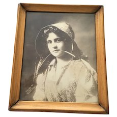 1899 Kovenseed Sepia Photo of 'Country Girl' in a Wooden Frame
